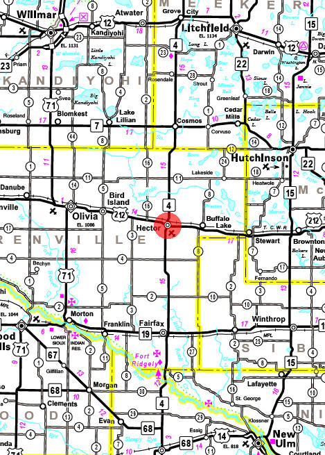Minnesota State Highway Map of the Hector Minnesota area