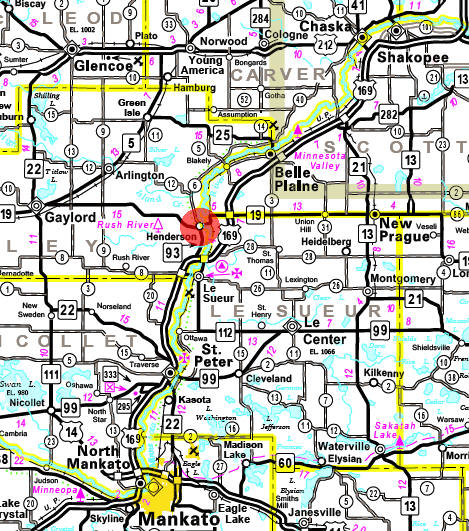 Minnesota State Highway Map of the Henderson Minnesota area
