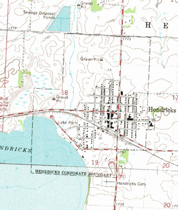 Topographic map of the Hendricks Minnesota area