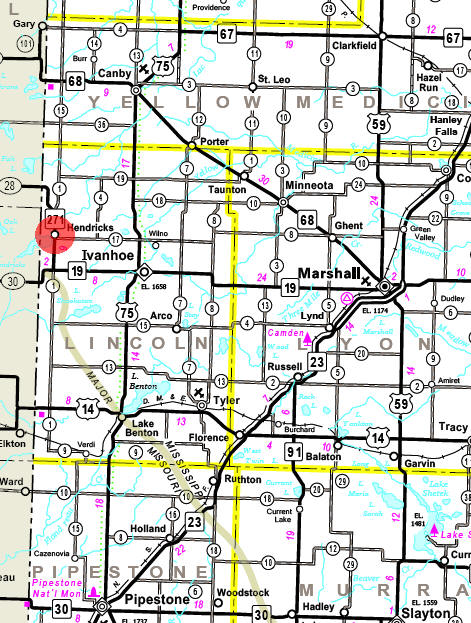Minnesota State Highway Map of the Hendricks Minnesota area