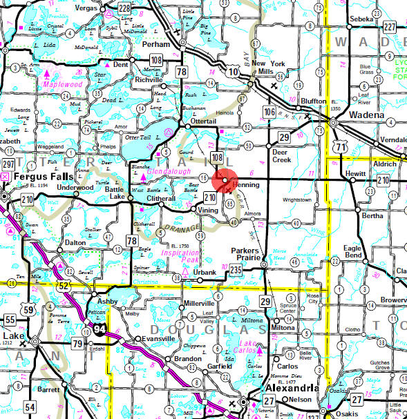 Minnesota State Highway Map of the Henning Minnesota area