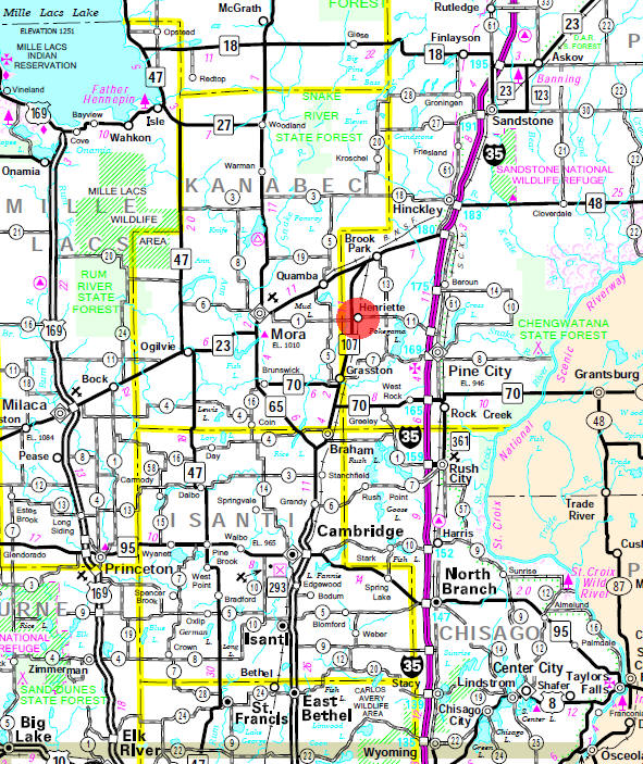 Minnesota State Highway Map of the Henriette Minnesota area