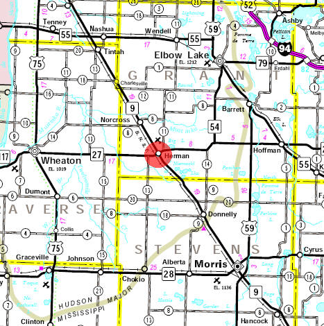 Minnesota State Highway Map of the Herman Minnesota area