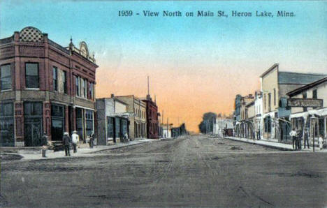 View north on Main Street, Heron Lake Minnesota, 1911
