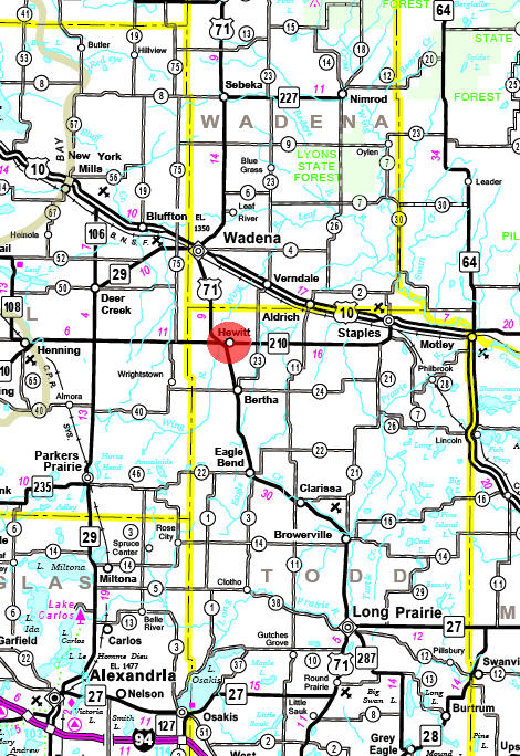 Minnesota State Highway Map of the Hewitt Minnesota area