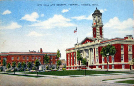 City Hall and General Hospital, Hibbing Minnesota, 1930's