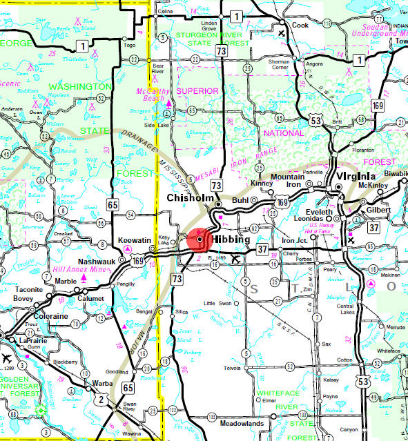Minnesota State Highway Map of the Hibbing Minnesota area