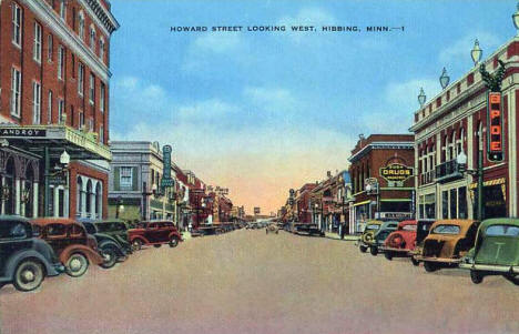 Howard Street looking West, Hibbing Minnesota, early 1940's