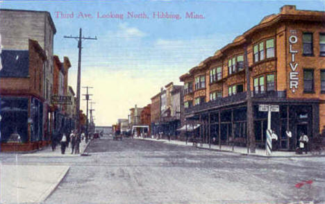 Third Avenue looking north, Hibbing Minnesota, 1910's