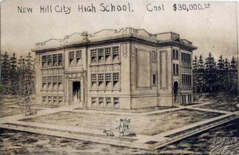 Architect's Drawing of New High School, Hill City Minnesota, 1911