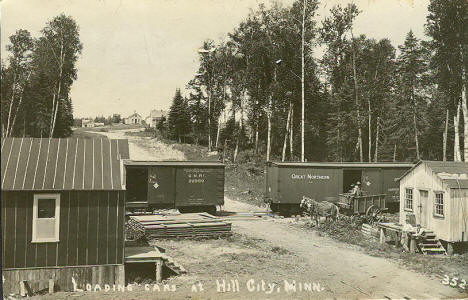 Loading Cars at Hill City Minnesota, 1910