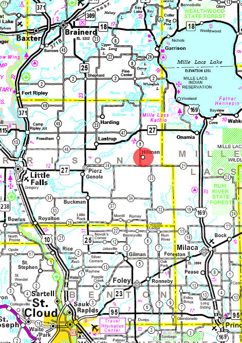 Minnesota State Highway Map of the Hillman Minnesota area