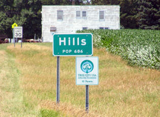 Hills Minnesota population sign