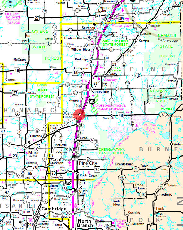 Minnesota State Highway Map of the Hinckley Minnesota area