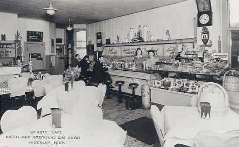 Wendt's Cafe and Northland Greyhound Bus Depot in Hinckley Minnesota, 1940's?