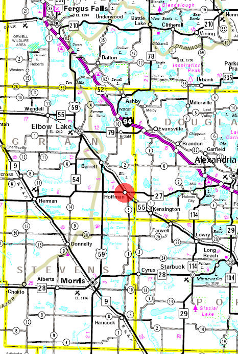 Minnesota State Highway Map of the Hoffman Minnesota area