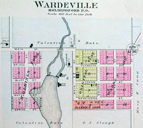Map of Wardeville and Holdingford, 1896