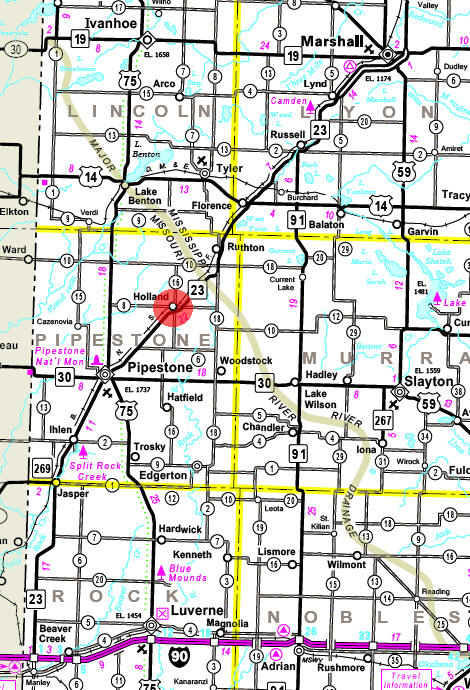 Minnesota State Highway Map of the Holland Minnesota area