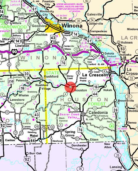 Houston Mn Map