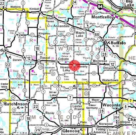 Minnesota State Highway Map of the Howard Lake Minnesota area