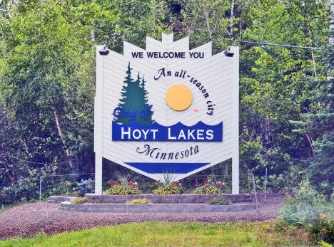 Welcome sign, Hoyt Lakes Minnesota, 2009