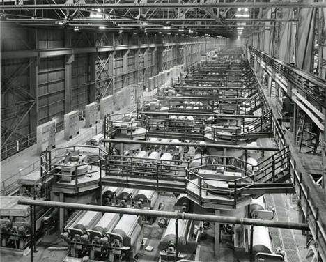 Interior of concentrator building with rod mills at Erie Mining Company, Hoyt Lakes Minnesota, 1950