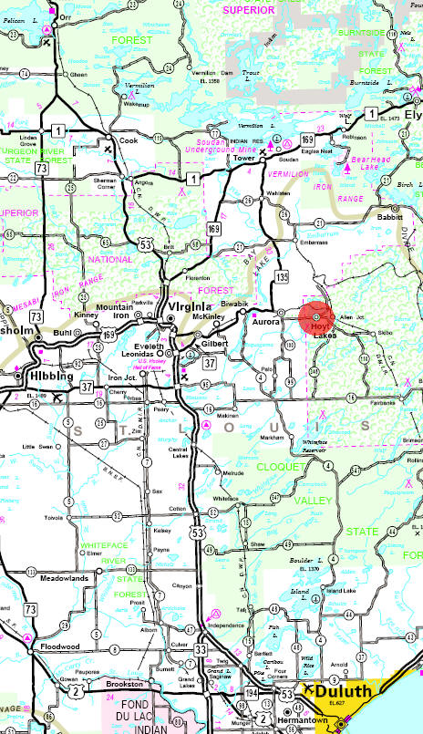 Minnesota State Highway Map of the Hoyt Lakes Minnesota area