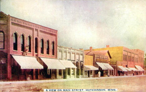 View of Main Street, Hutchinson Minnesota, 1910