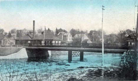 Bridge over the Crow River and the Powerhouse, Hutchinson Minnesota, 1910's