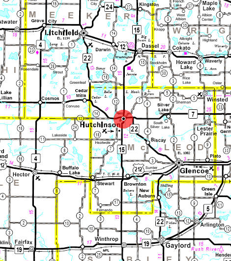 Minnesota State Highway Map of the Hutchinson Minnesota area