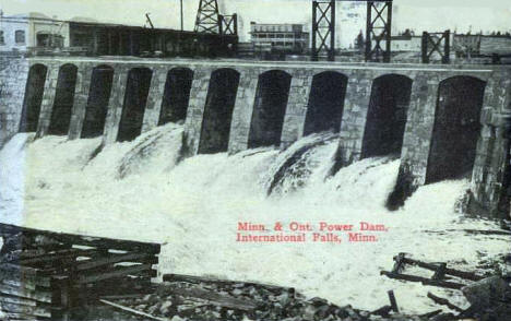 Minnesota & Ontario Power Dam, International Falls Minnesota, 1914