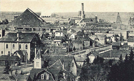 View of Bridge Dam & Paper Mills, International Falls Minnesota, 1914