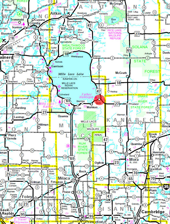 Minnesota State Highway Map of the Isle Minnesota area