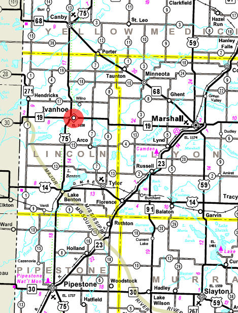Minnesota State Highway Map of the Ivanhoe Minnesota area