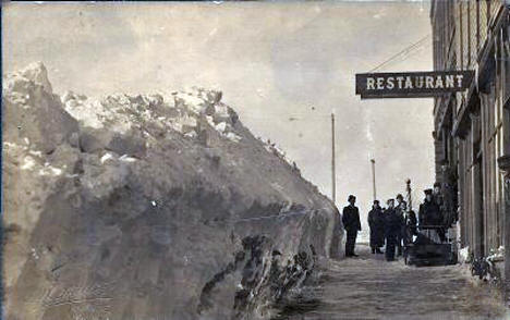 Snowdrift in Downtown Ivanhoe Minnesota, 1908