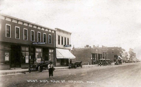 West side of Main Street, Ivanhoe Minnesota, 1921