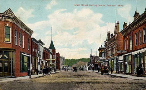 Main Street looking north, Jackson Minnesota, 1909
