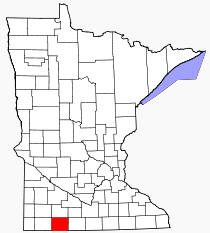 Location of Jackson County Minnesota