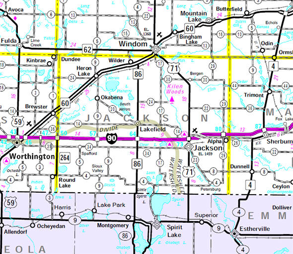 Minnesota State Highway Map of the Jackson County Minnesota area
