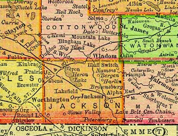 1895 Map of Jackson County Minnesota