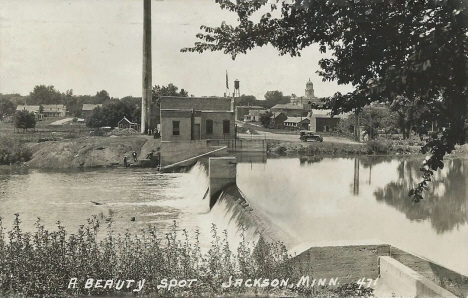 Municipal Powe Plant and Dam on the Des Moines River, Jackson Minnesota, 1923
