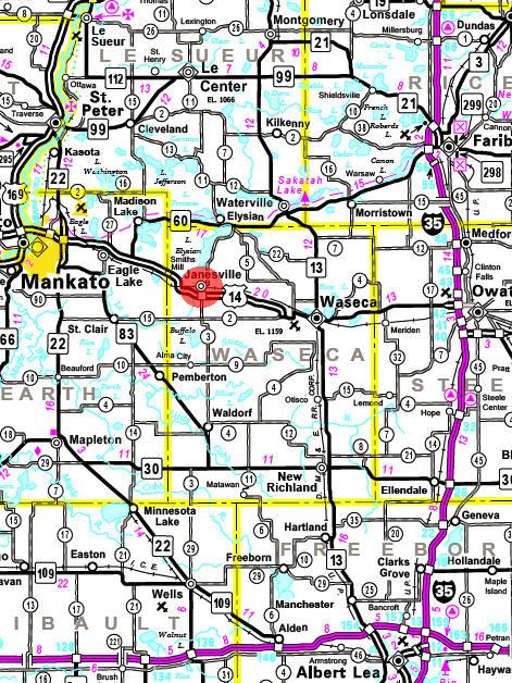 Minnesota State Highway Map of the Janesville Minnesota area
