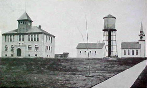 High School and Lutheran Church, Jasper Minnesota, 1911