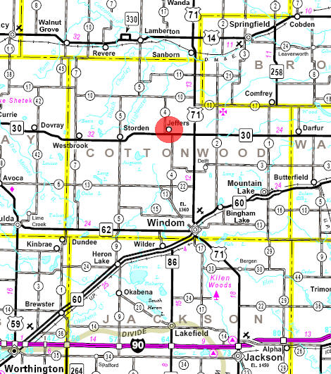 Minnesota State Highway Map of the Jeffers Minnesota area