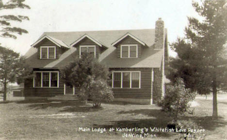 Main Lodge at Kamberling's Whitefish Lake Resort, Jenkins Minnesota, 1936