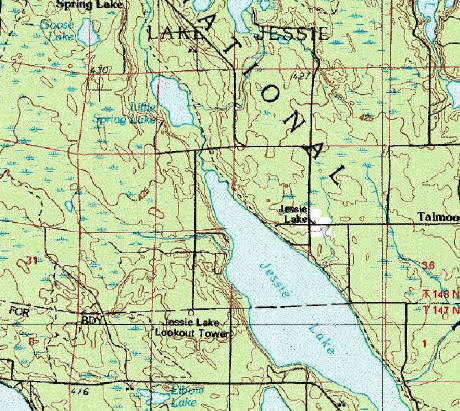 Topographic Map of Lake Jessie Minnesota
