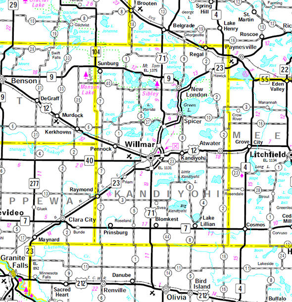Minnesota State Highway Map of the Kandiyohi County Minnesota area