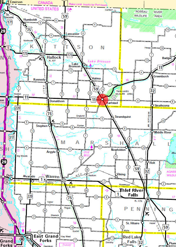 Minnesota State Highway Map of the Karlstad Minnesota area