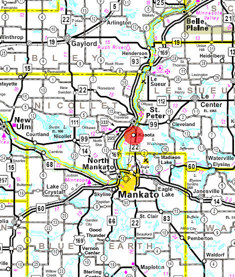 Minnesota State Highway Map of the Kasota Minnesota area