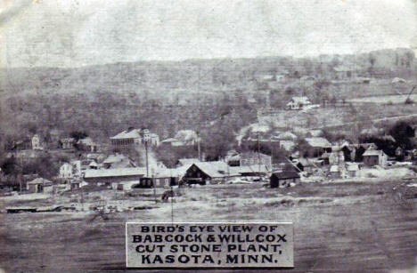 Bird's eye view of the Babcock & Wilcox Cut Stone Plant, Kasota, Minnesota, 1908